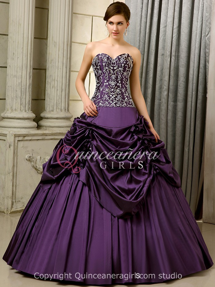 Purple A-Line Embroidered Corset Satin Floor Length Quinceanera Dress