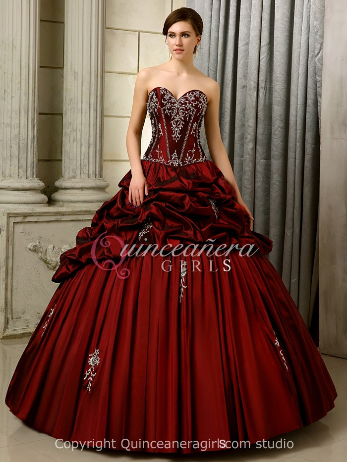 Girls Puffy Embroidered Corset Taffeta Floor Length Quinceanera Dress
