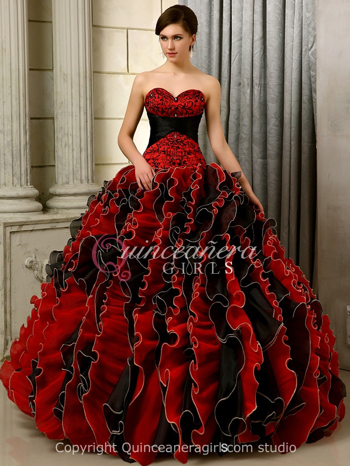 Gorgeous Ruffled Sweetheart Organza Floor Length Quinceanera Dress