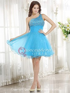 Blue Beaded One Shoulder Organza Satin Short Quinceanera Dress