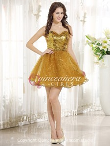 Glitter Gold A-Line Sequin Sweetheart Organza Short Quinceanera Dress