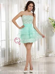 Aqua Beaded Sweetheart Corset Organza Satin Mini Quinceanera Dress