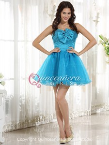 Blue Bow Sweetheart Corset Organza Taffeta Mini Quinceanera Dress