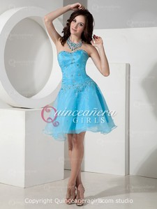 Blue Ball Gown Beaded Sweetheart Corset Organza Mini Quinceanera Dress