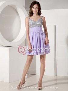 Simple Lilac A-Line Beaded With Straps Chiffon Short Quinceanera Dress