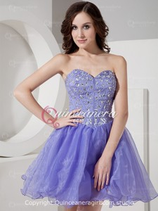 Lavender Puffy Crystal Sweetheart Organza Satin Mini Quinceanera Dress