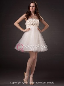Simple Champagne A-Line Floral Strapless Tulle Short Quinceanera Dress