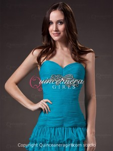 Modern Teal Petite Crystal Sweetheart Tulle Mini Quinceanera Dress