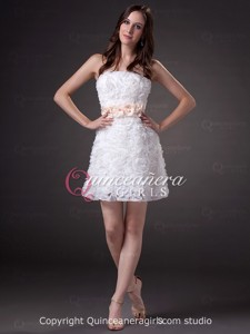 Cute Pink White A-Line Bow Strapless Short Quinceanera Dress
