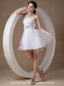 Purple White Puffy Bow Strapless Organza Short Quinceanera Dress
