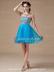 Blue Ball Gown Beaded Sweetheart Organza Short Quinceanera Dress