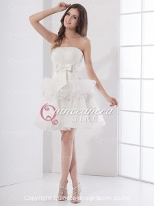 Ivory Ball Gown Beaded Strapless Organza Short Quinceanera Dress