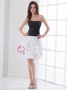 White Black Flower Sweetheart Taffeta Short Quinceanera Dress