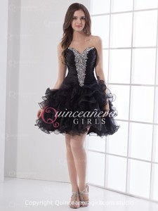 Glitter Black Puffy Crystal Sweetheart Organza Short Quinceanera Dress