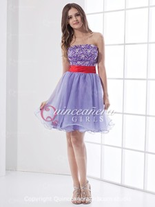 Red Lavender Puffy Beaded Strapless Organza Short Quinceanera Dress