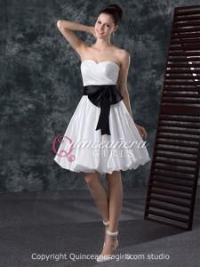 White Black Bow Sweetheart Corset Taffeta Short Quinceanera Dress