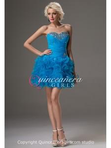 Blue Beaded Ruffled Sweetheart Corset Organza Mini Quinceanera Dress