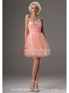 Simple Coral A-Line Beaded Sweetheart Tulle Short Quinceanera Dress
