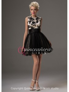 Girls Cute Black Puffy With Straps Tulle Satin Mini Quinceanera Dress