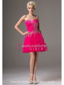 Cute Fuchsia A-Line Beaded Sweetheart Tulle Short Quinceanera Dress
