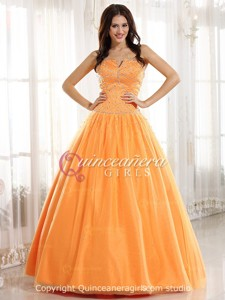 Orange Puffy Beaded Strapless Corset Tulle Long Quinceanera Dress