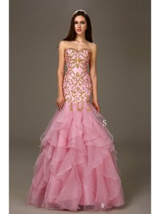 Pink Mermaid Ruffled Sweetheart Organza Floor Length Quinceanera Dress
