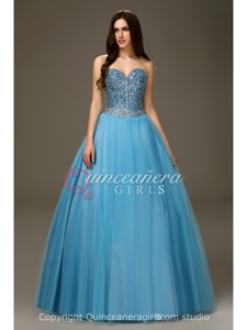 Blue Princess Crystal Sweetheart Tulle Floor Length Quinceanera Dress