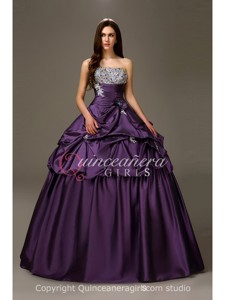 Purple Puffy Crystal Strapless Taffeta Floor Length Quinceanera Dress