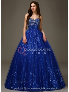 Princess Sequins Sweetheart Organza Floor Length Quinceanera Dress