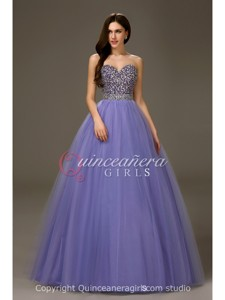 Lavender Puffy Beaded Sweetheart Tulle Floor Length Quinceanera Dress