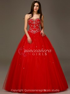 Prom Red Puffy Beaded Sweetheart Tulle Floor Length Quinceanera Dress