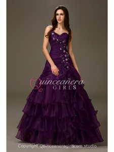 Girls A-Line Ruffled Sweetheart Organza Floor Length Quinceanera Dress