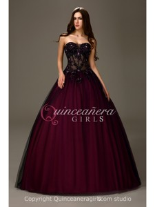 Sexy A-Line Beaded Sweetheart Tulle Floor Length Quinceanera Dress