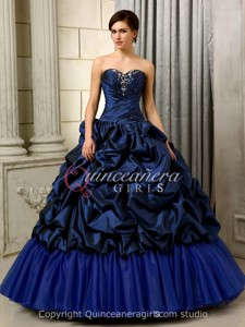 Royal Blue Puffy Sweetheart Taffeta Floor Length Quinceanera Dress