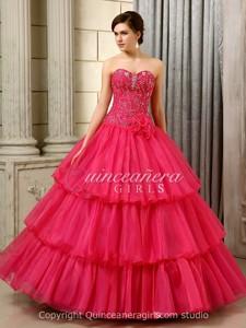 Hot Pink A-Line Beaded Corset Organza Floor Length Quinceanera Dress
