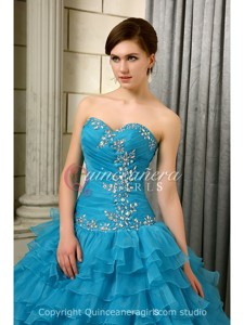 Blue Puffy With Jackets Corset Organza Floor Length Quinceanera Dress