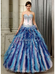 White and Blue Ruffled Corset Organza Floor Length Quinceanera Dress