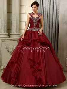 Prom Puffy Embroidered Corset Organza Floor Length Quinceanera Dress