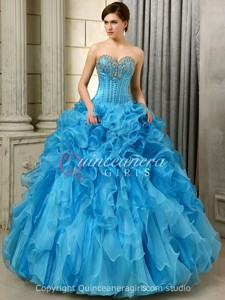 Blue Puffy Ruffled Sweetheart Organza Floor Length Quinceanera Dress