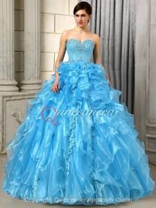 Blue Puffy Ruffled Sweetheart Organza Floor Length Quinceanera Dress
