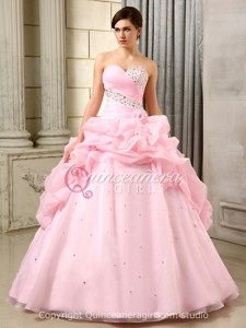 Pink Princess Beaded Sweetheart Organza Floor Length Quinceanera Dress
