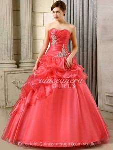 Peach Puffy With Jackets Corset Organza Floor Length Quinceanera Dress