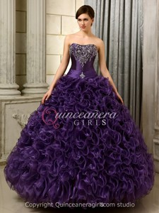 Purple Ball Gown Ruffled Corset Organza Floor Length Quinceanera Dress