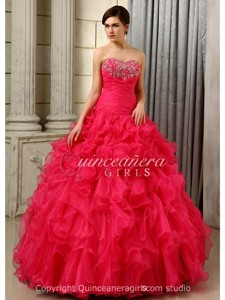 Hot Pink Puffy Ruffled Corset Organza Floor Length Quinceanera Dress