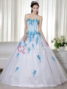 Blue White Beaded Sweetheart Corset Organza Long Quinceanera Dress
