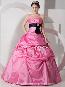 Pink Puffy Crystal Sweetheart Corset Taffeta Long Quinceanera Dress