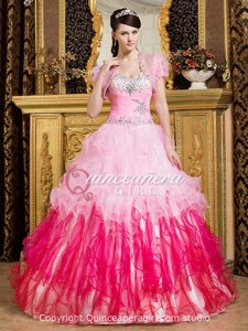 Pink Fuchsia Ball Gown Sweetheart Organza Long Quinceanera Dress