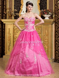 Hot Pink Puffy Beaded Sweetheart Corset Organza Long Quinceanera Dress