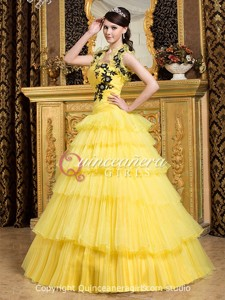 Yellow With Jackets Strapless Corset Organza Long Quinceanera Dress