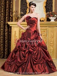 Burgundy Ball Gown Sweetheart Corset Taffeta Long Quinceanera Dress